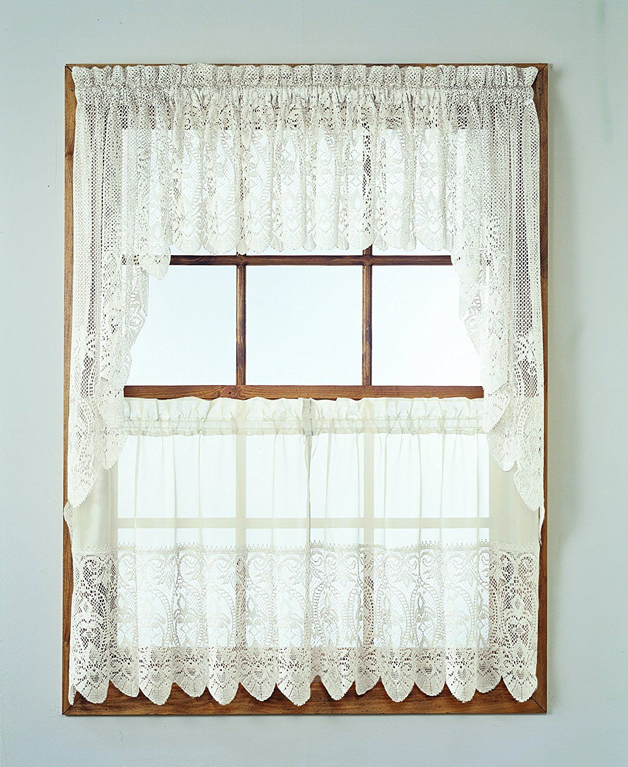 No 918 joy tier kitchen curtain swag valance 60 by 38 inch ivory kitchens solutioingenieria Images
