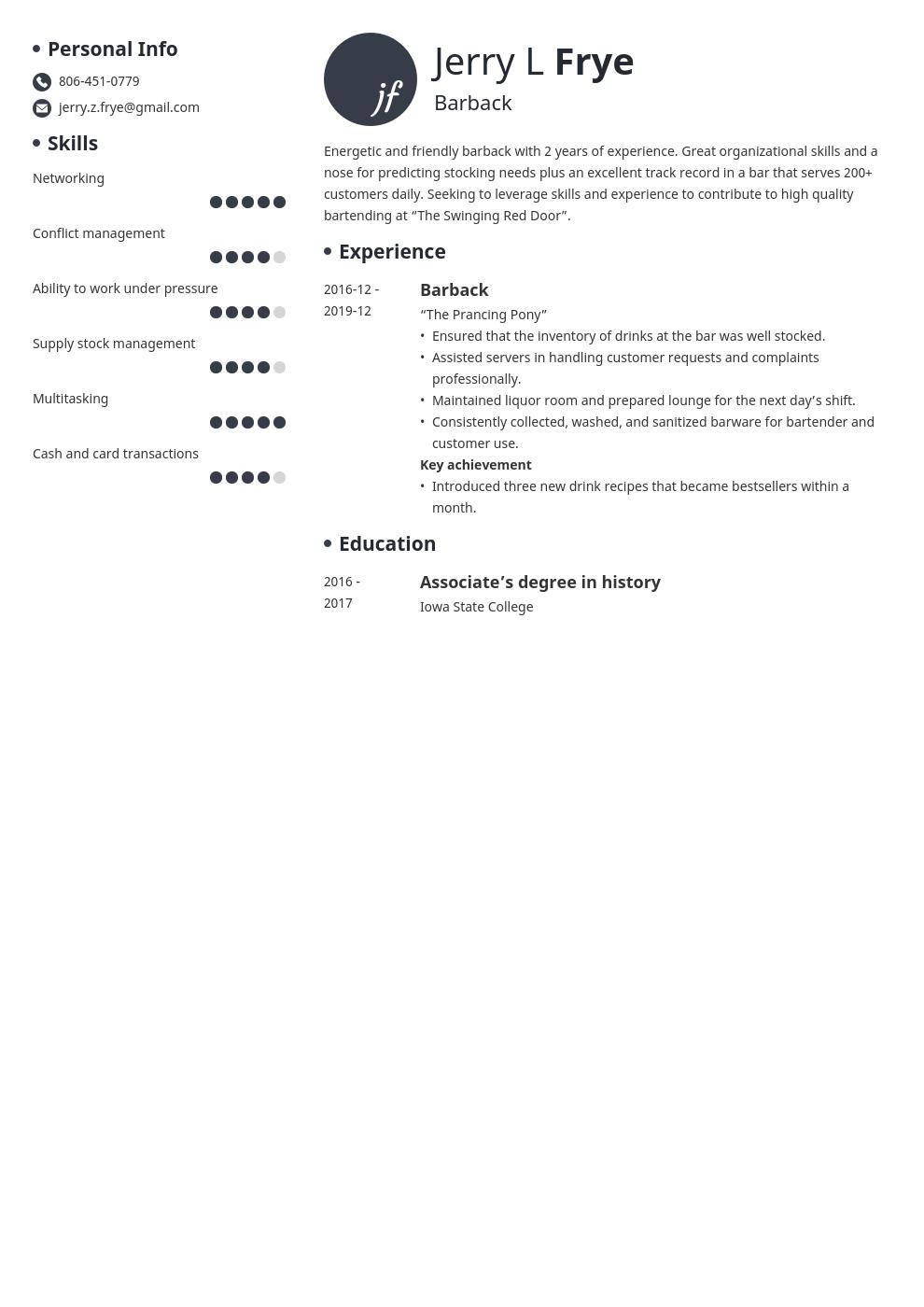 Barback Resume Example Template Initials Resume Examples Job Resume Examples Resume