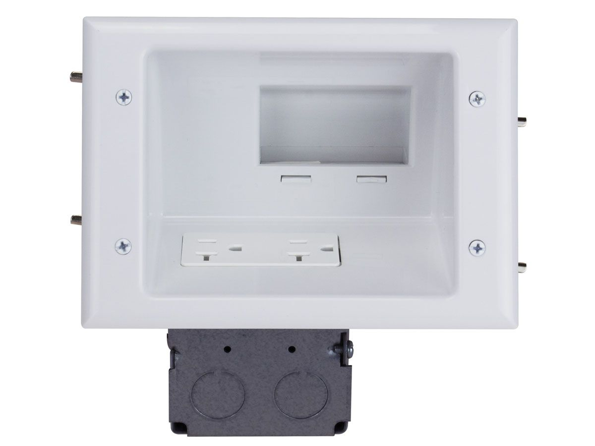 Recessed Low Voltage Mid-Size Plate with 20 Amp Duplex Receptacle, white - Monoprice.com