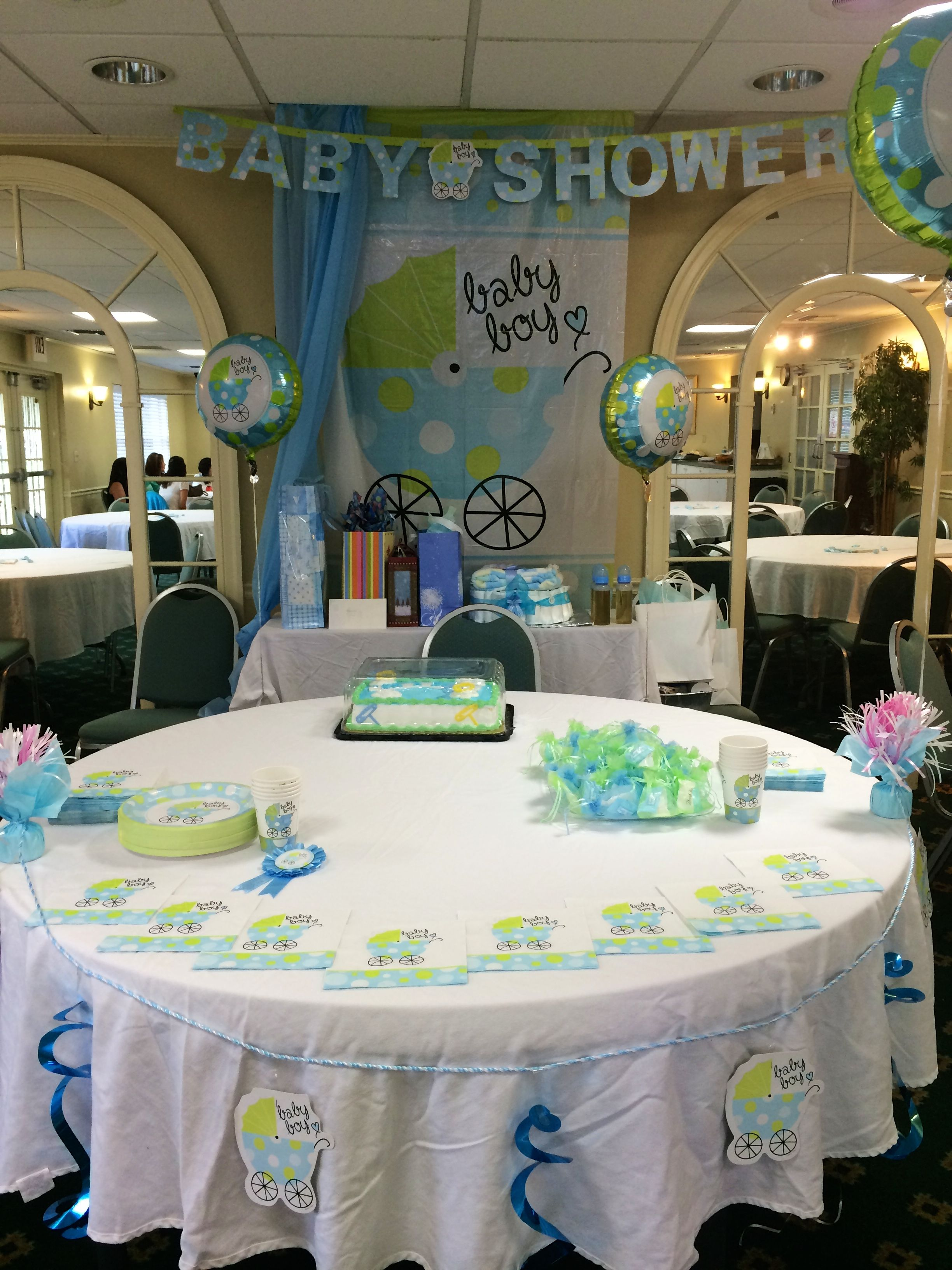 Dollar store baby shower decoration for a boy ideas for Baby shower hall decoration
