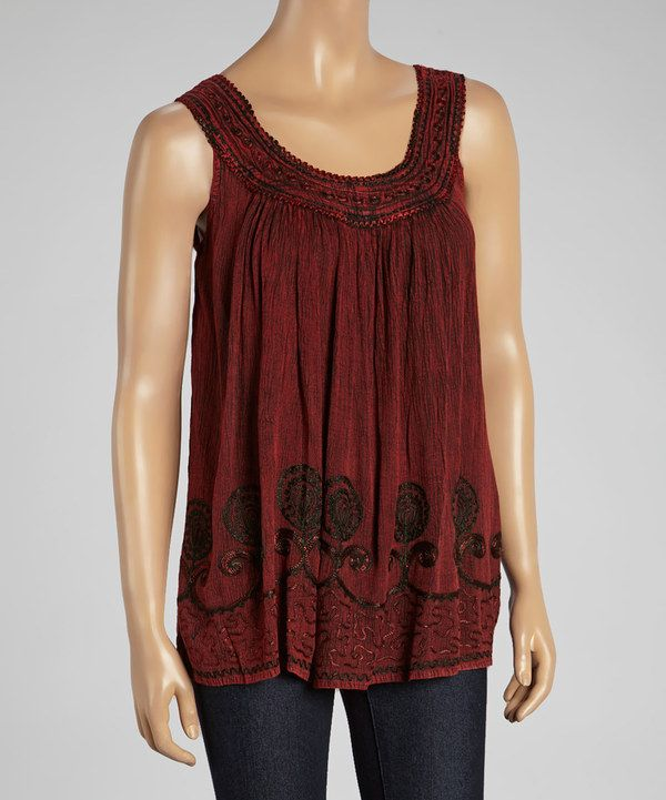 Look at this Maroon Embroidered Yoke Top on #zulily today!