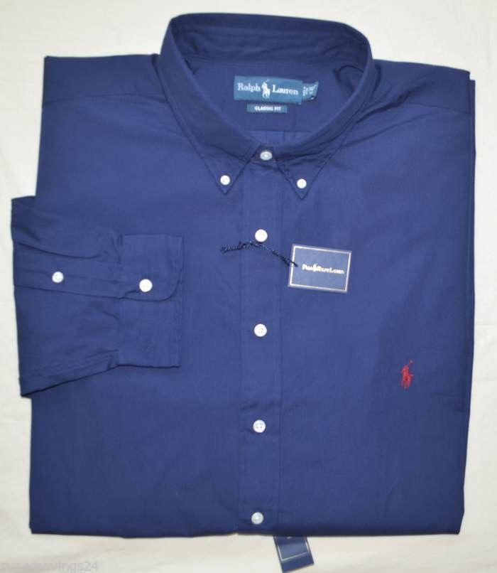 New 3XLT 3XL TALL POLO RALPH LAUREN Men button down dress shirt 3XT navy blue 19 #PoloRalphLauren #ButtonFront