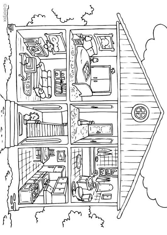 Coloring Page House Interior Img 26229 Coloriage Maison Coloriage Maison Dessin