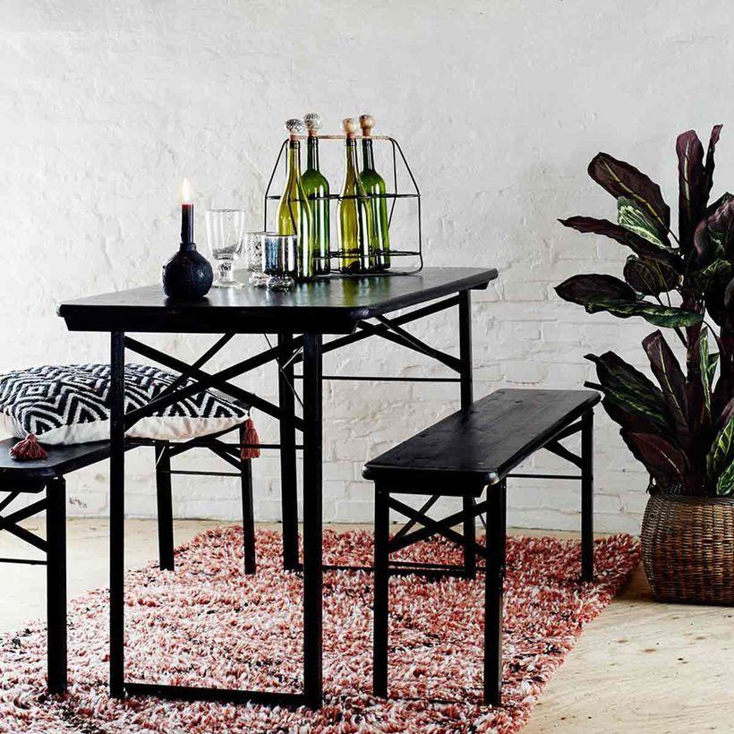 Ensemble table et 2 bancs pliants en métal et bois noir ...