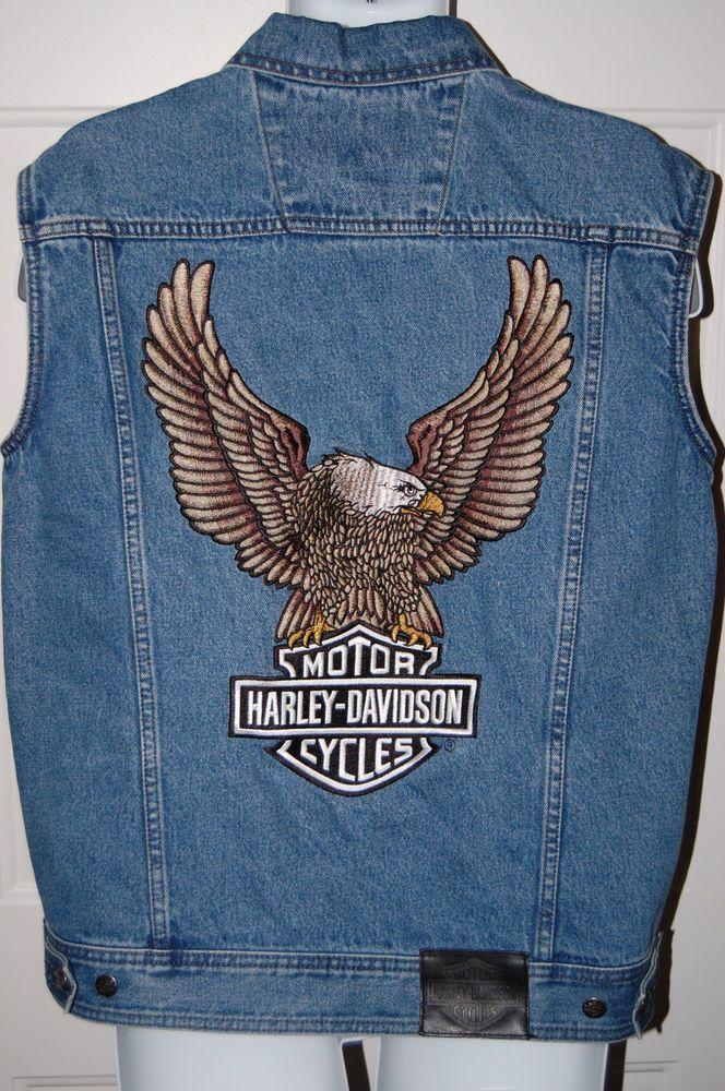 9319d9ee2a Harley-Davidson Embroidered Button Cut-Off Sleeveless Denim Shirt Size M…