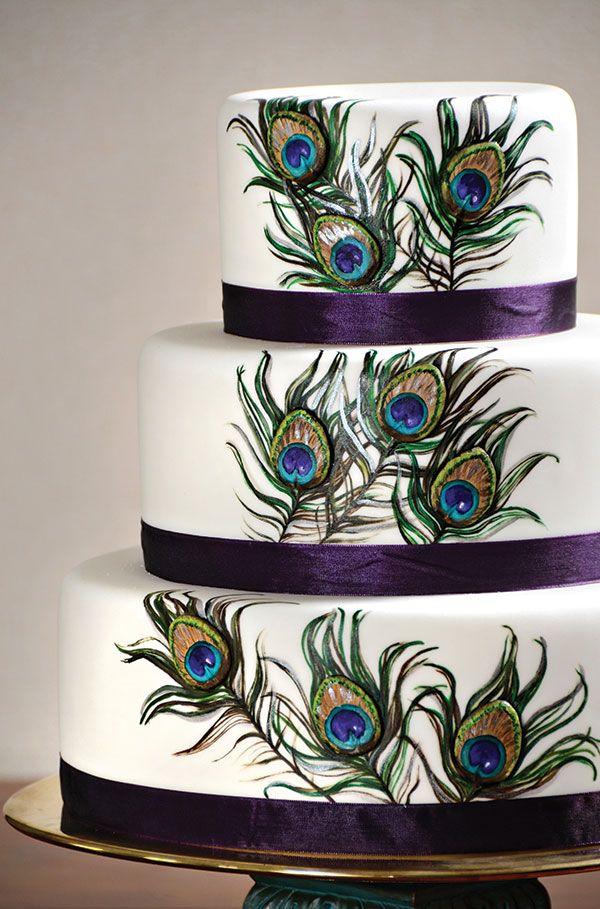 peacock indian wedding cake - Peacock Cake via Utah Valley 360 Purple ribbon bands!
