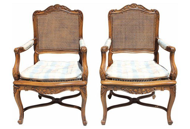 Silver Craft French Style Chairs, Pair