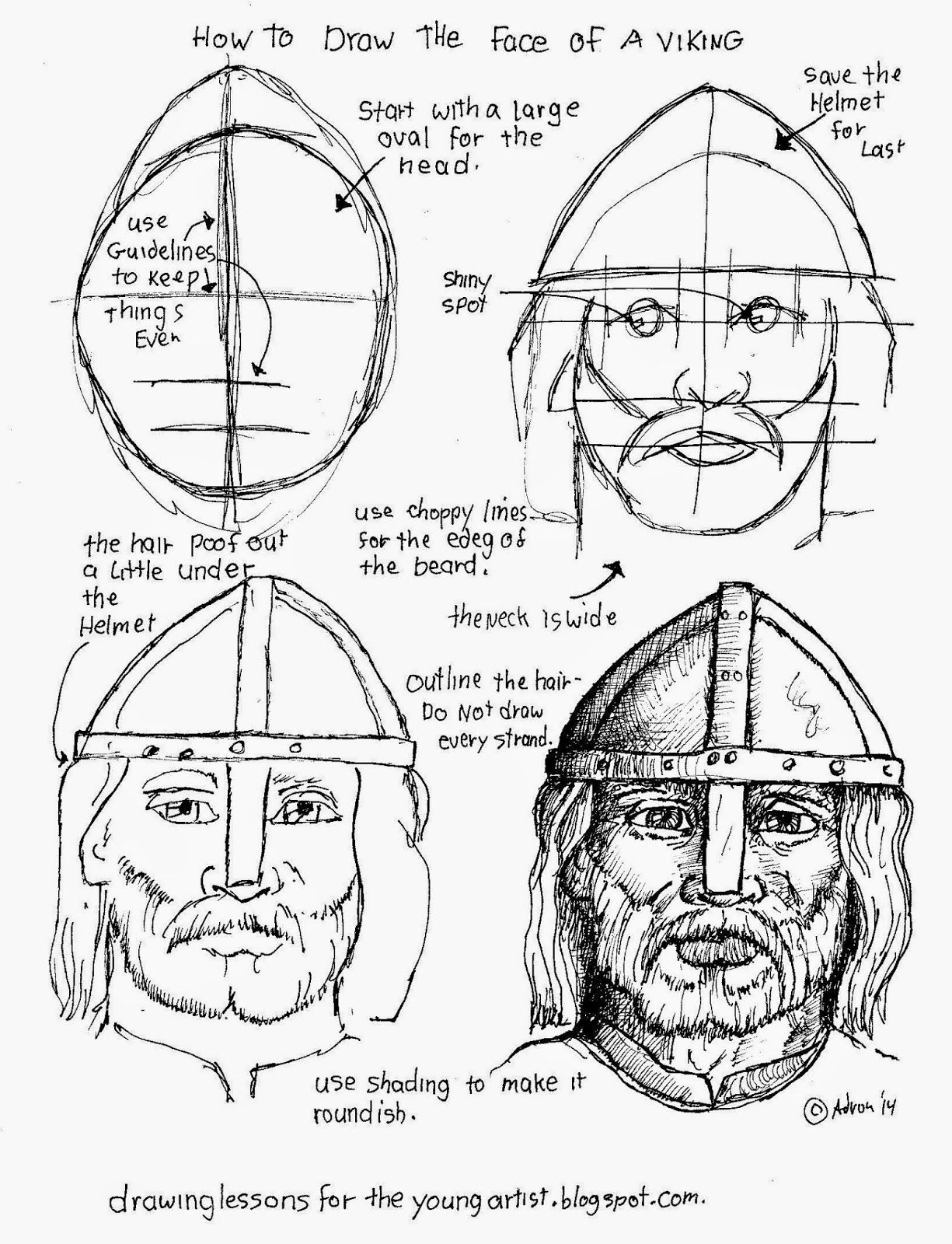 how to draw worksheets for the young artist how to draw a face of a viking mystery of history. Black Bedroom Furniture Sets. Home Design Ideas