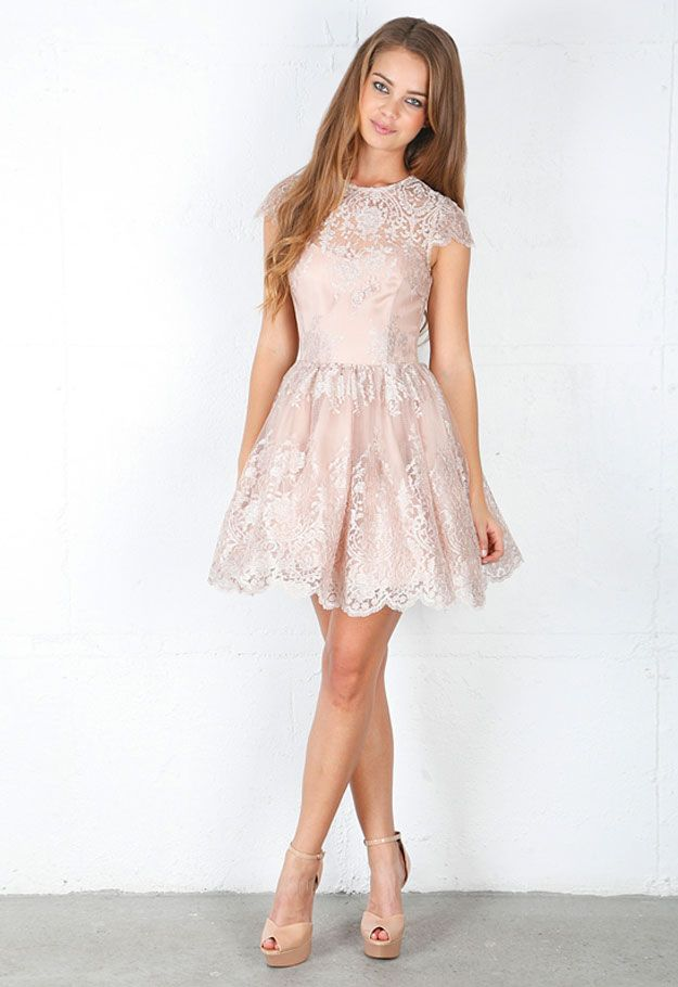 short lace cap sleeve dress - dama dress | {Paris Quinceanera ...