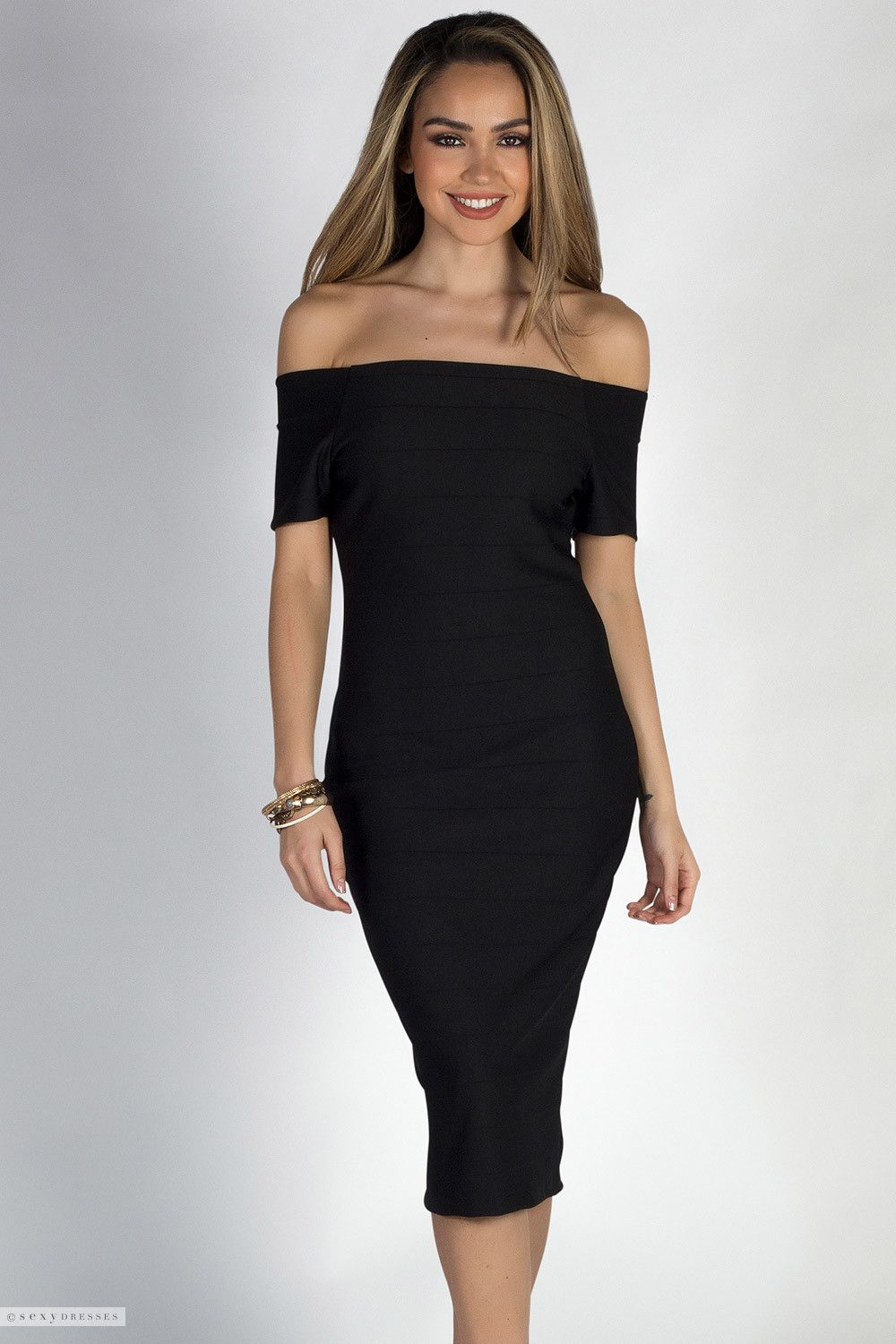 ac8f1aecfd Short Sleeve Off Shoulder Midi Length Black Bodycon Bandage Cocktail Dress