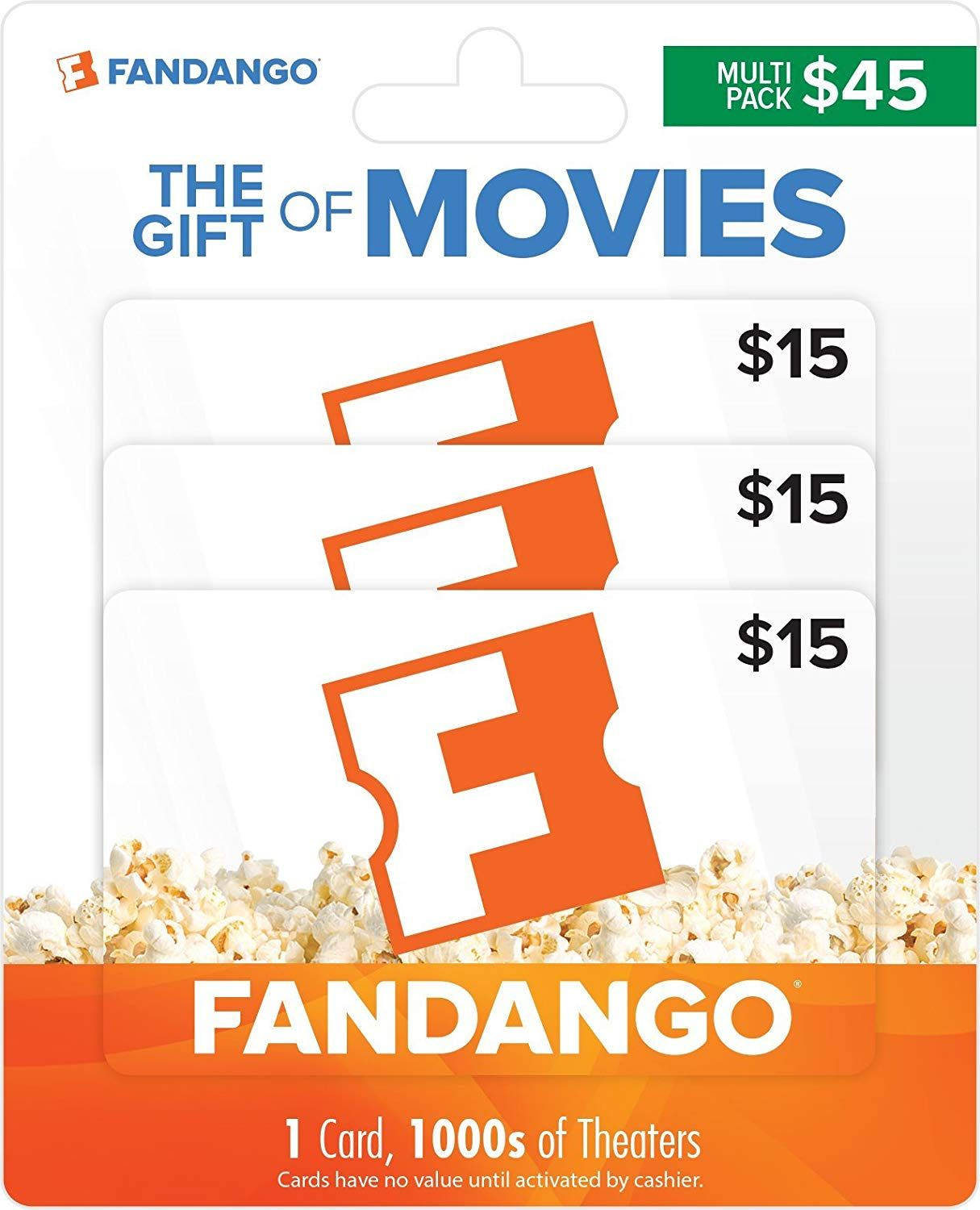 Fandango multipack of 3 15 gifts cards theatre gifts