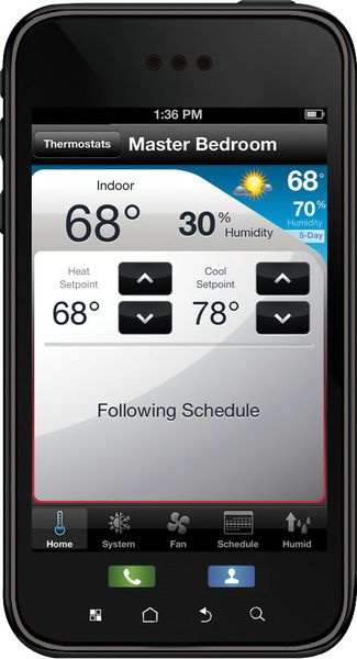 Honeywell Total Connect Comfort app: View and modify the thermostat schedule for multiple rooms.