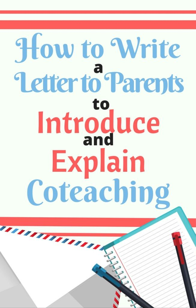 How To Write Letter Introducing Coteaching To Parents  Parents