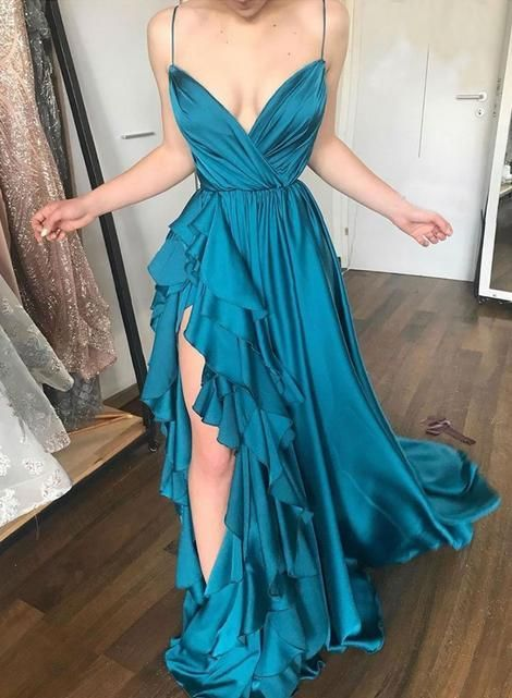 Unique blue v neck long prom dress, blue evening dress cg745 – classygown