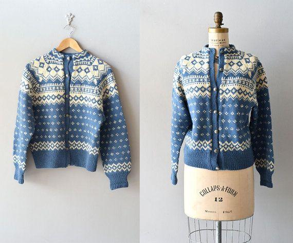Bahnhofstrasse cardigan / vintage wool 50s ski sweater / 1950s wool cardigan