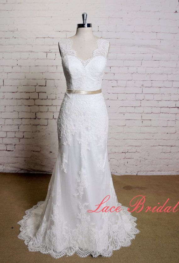 Sheath Style Wedding Dress with V-neck Classic Lace Bridal Gown with ...