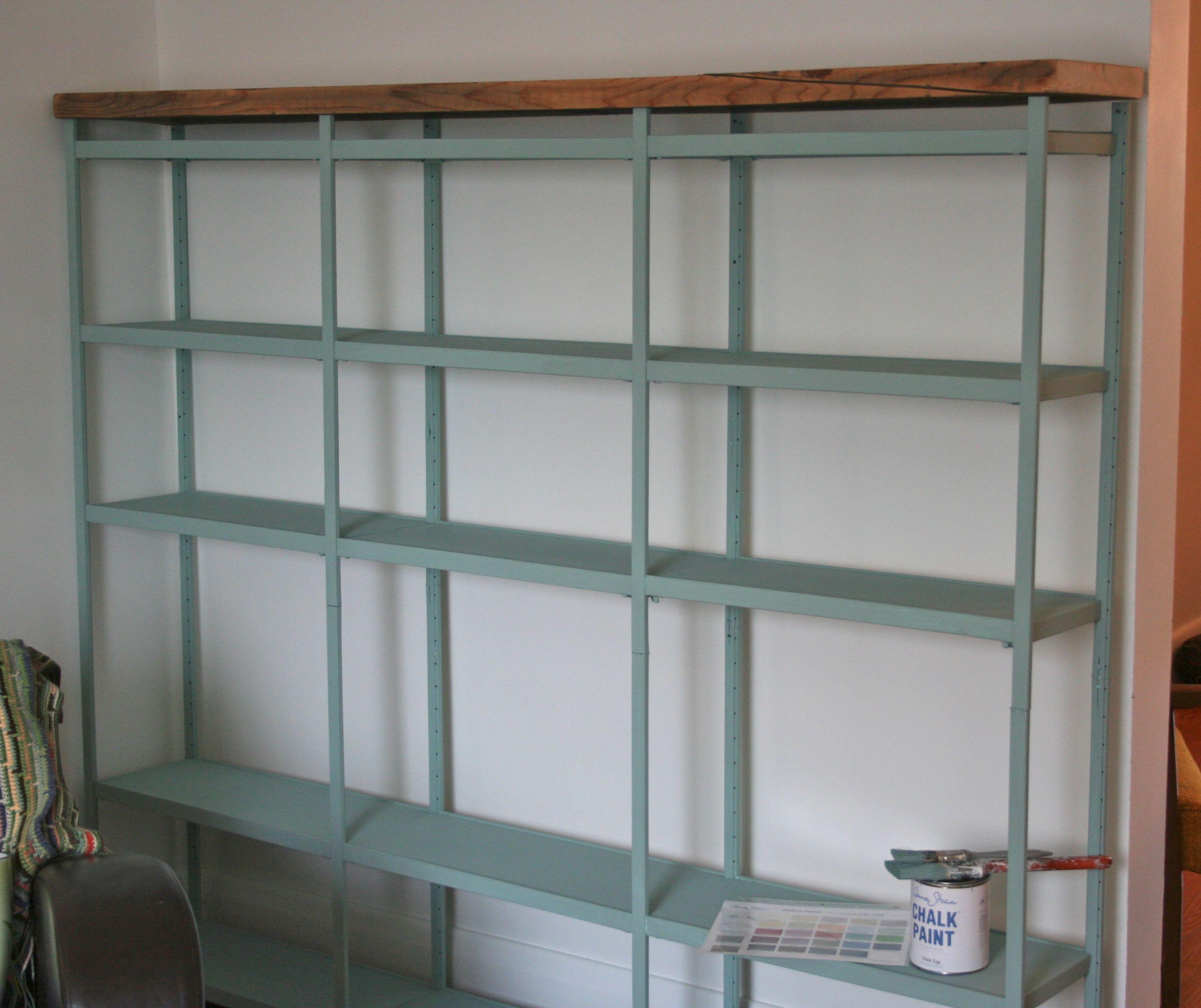 Annie Sloan Chalk Paint Makeover On Metal Shelves Love The Wood Finish Shelf Makeover Metal Furniture Design Metal Shelves