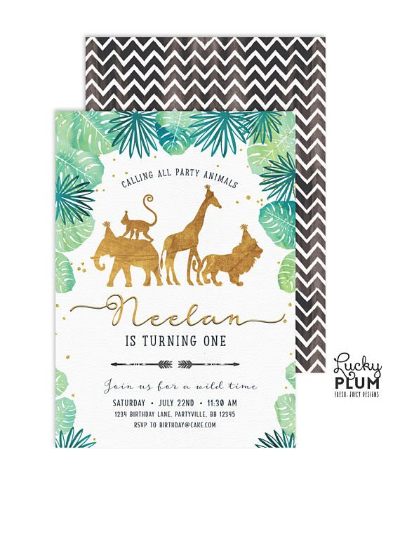 Gold Safari Birthday Invitation / Jungle Birthday Invitation /