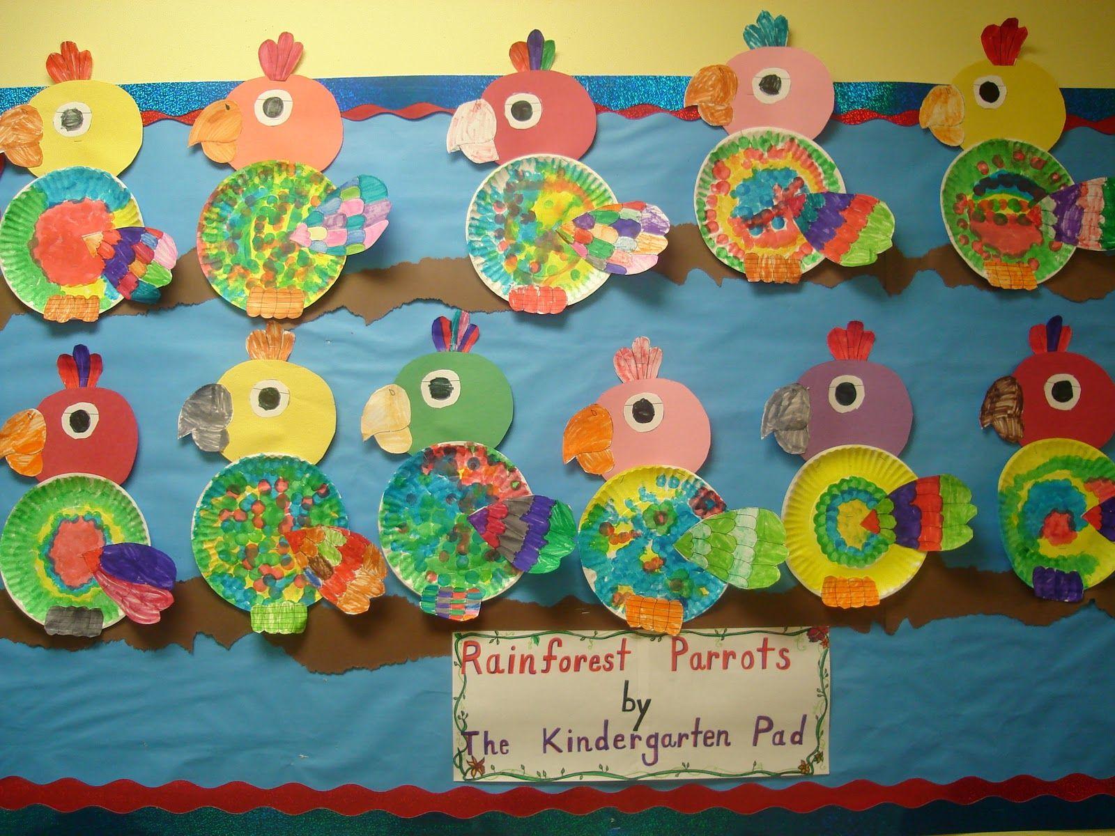 Rainforest Craft Ideas For Kids Part - 18: Preschool And Kindergarten Rainforest And Zoo Bulletin Board Craft Idea
