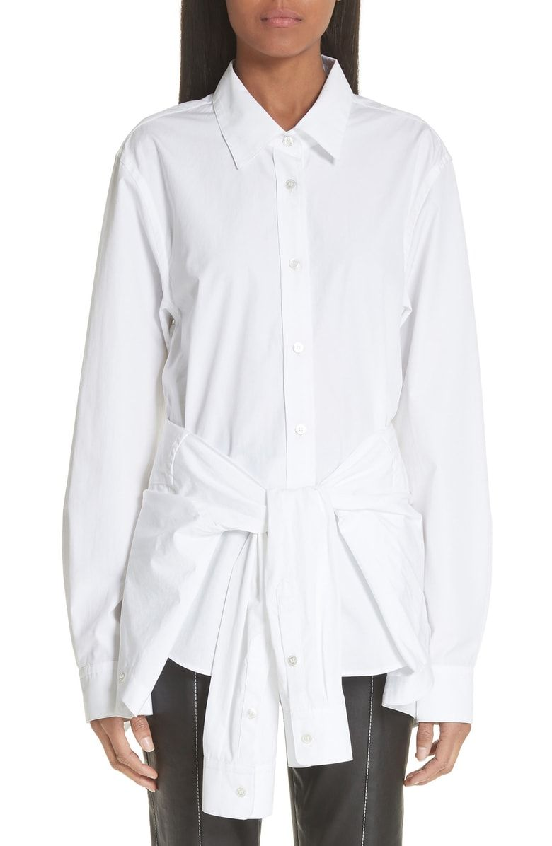 f71bec749299d Free shipping and returns on Alexander Wang Tie Waist Cotton Poplin Shirt  at Nordstrom.com.  p A collared panel creates flouncy volume as it droops  from the ...