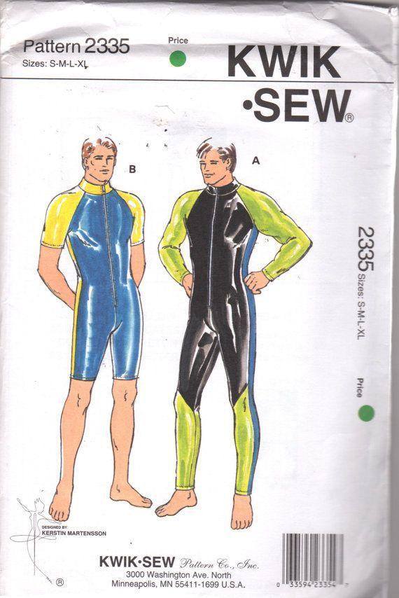 Kwik Sew 2335 Mens Zip Front Wetsuit Pattern Raglan Sleeves Size ...
