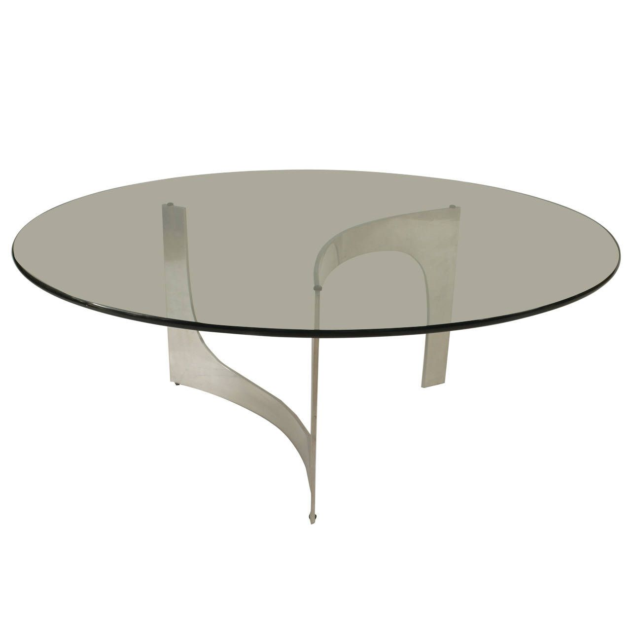 Late 20th C American Aluminum And Glass Round Coffee Table Coffee Table Round Glass Coffee Table Noguchi Table [ 1280 x 1280 Pixel ]