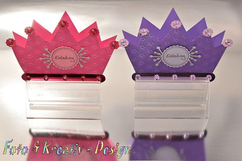 Prinzessin Krone Einladung Set 2Stk