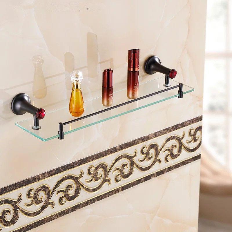 Bathroom Accessories Red Stone Oil Brush Black Gl Shelf Single