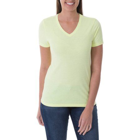 Faded Glory Women's Solid Short Sleeve V- Neck Tee, Size: Small