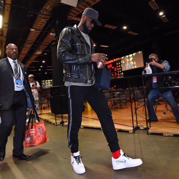 926b456294c Lebron James in the Nike 10 Air Force 1 Low X Off White. Get yours by  clicking the link above