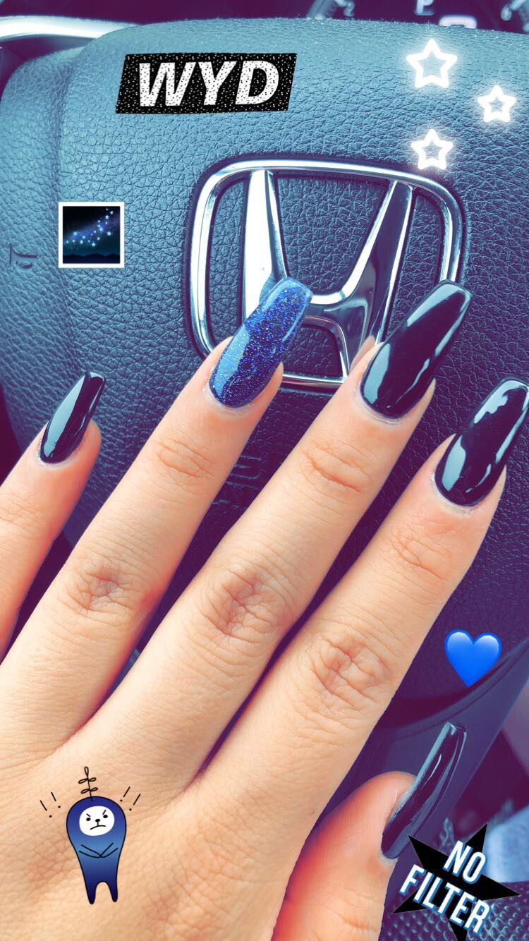 Acrylic coffin nails black with blue glitter