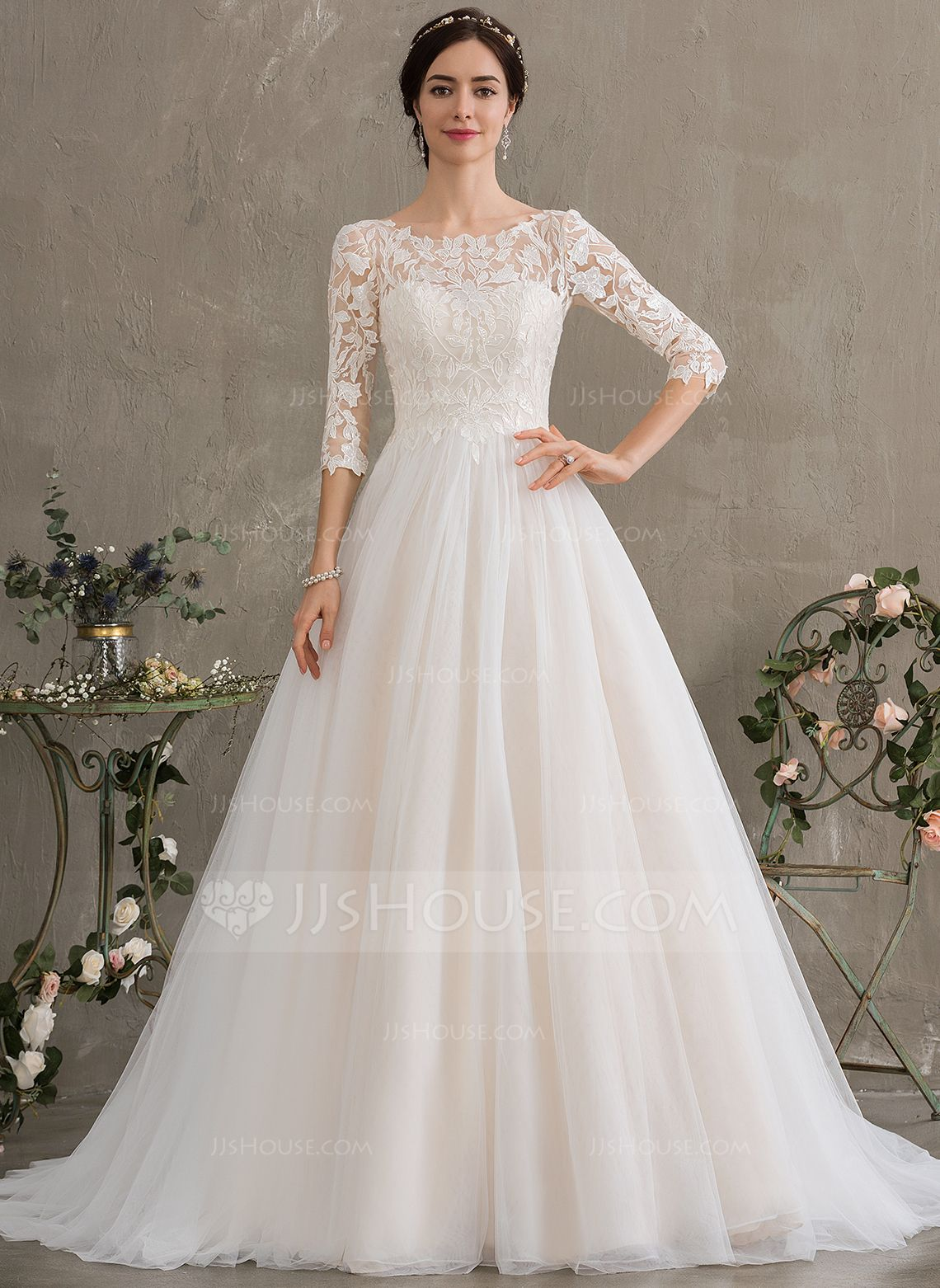 Us 214 00 Ball Gown Princess Scoop Neck Court Train Tulle Wedding Dress With Sequins Jj S House Bow Wedding Dress Wedding Dress Sleeves Wedding Dress Long Sleeve [ 1562 x 1140 Pixel ]