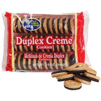 Vanilla and chocolate sandwich cookies with rich vanilla