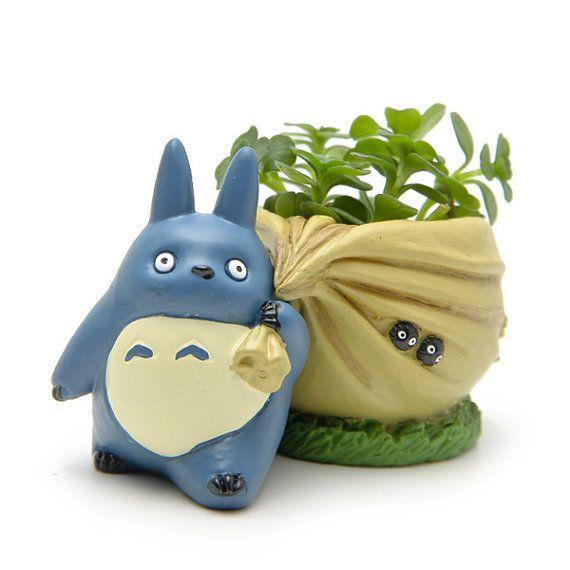 suculentas macetas mini totoro azul con bolsa jardinera ollas miniatura jardn contenedor terrario suculentas miniatura