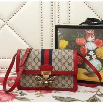 3720f7f1923 Gucci Queen Margaret GG Supreme medium shoulder bag with Red Leather Trim