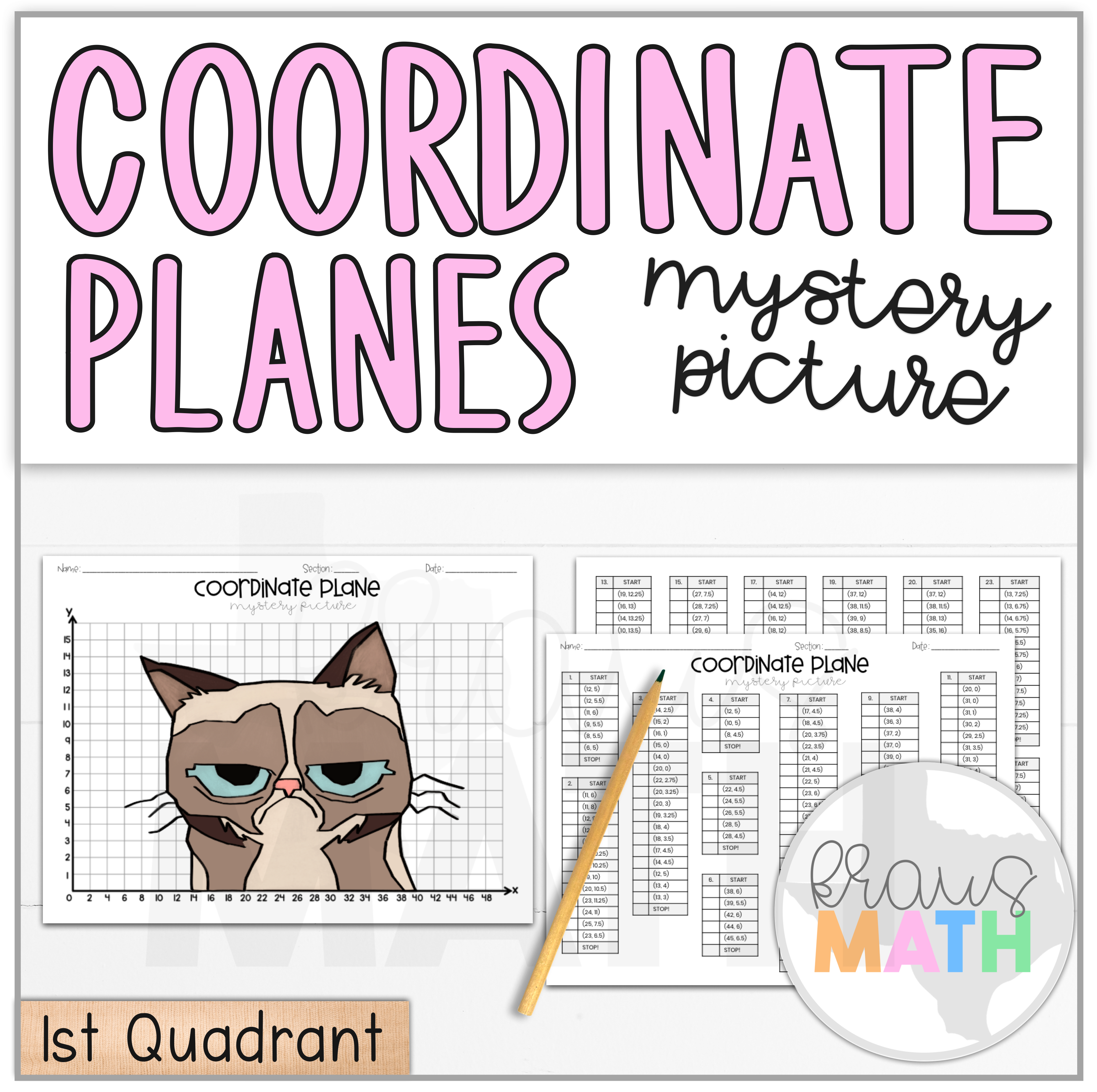 Grumpy Cat Coordinate Plane Mystery Picture 1st Quadrant