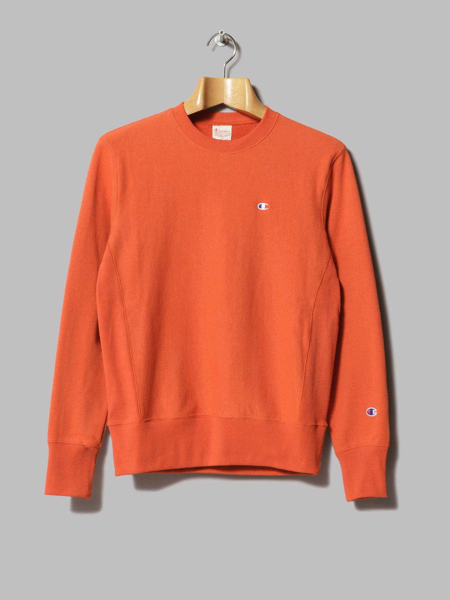 Champion Reverse Weave Crewneck Sweatshirt (Orange)   Fleece ...