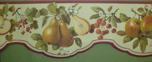 Interior Place Maroon Scalloped Fruit Wallpaper Border