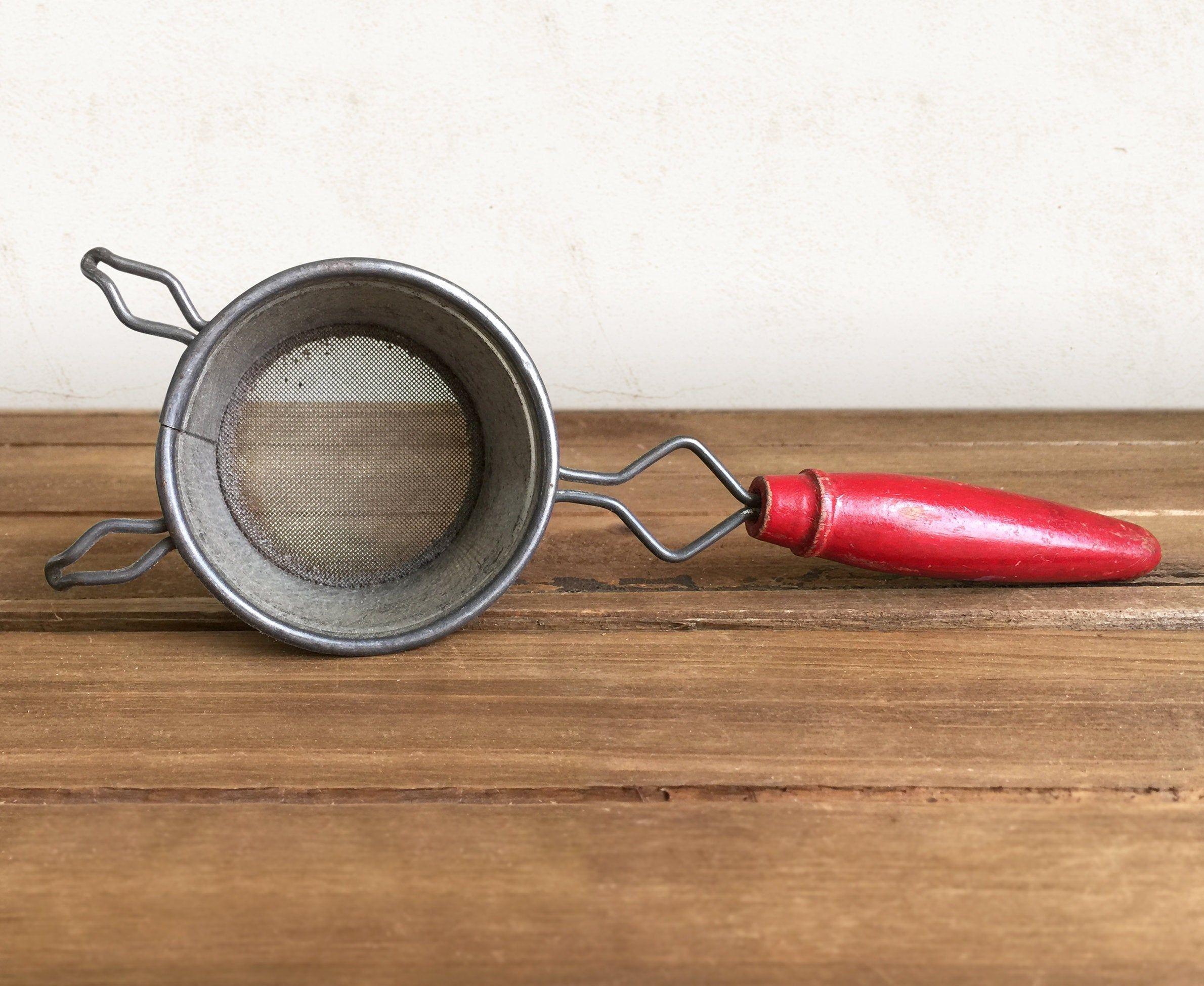 VIntage Tea Strainer Vintage Kitchen Gadget, Vintage Small Sifter with Red Wood Handle Red wood handle strainer
