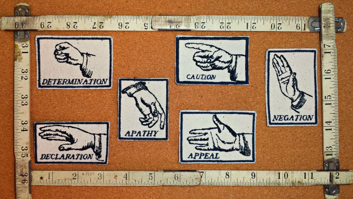 Hand Gesture Set of Six Embroidered Modern Vintage Graphic Upcycled Canvas Jacket Patches by Authenticembroidery on Etsy