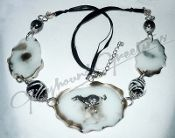 Black and White Agate Slices Necklace w SP Tuck Run Greyhound