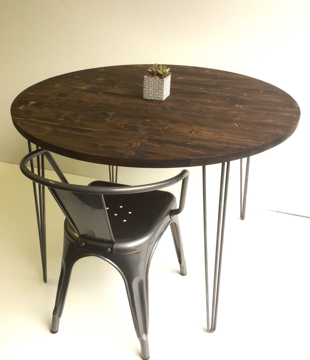 "40"" Round industrial chic kitchen table with handcrafted wood top"