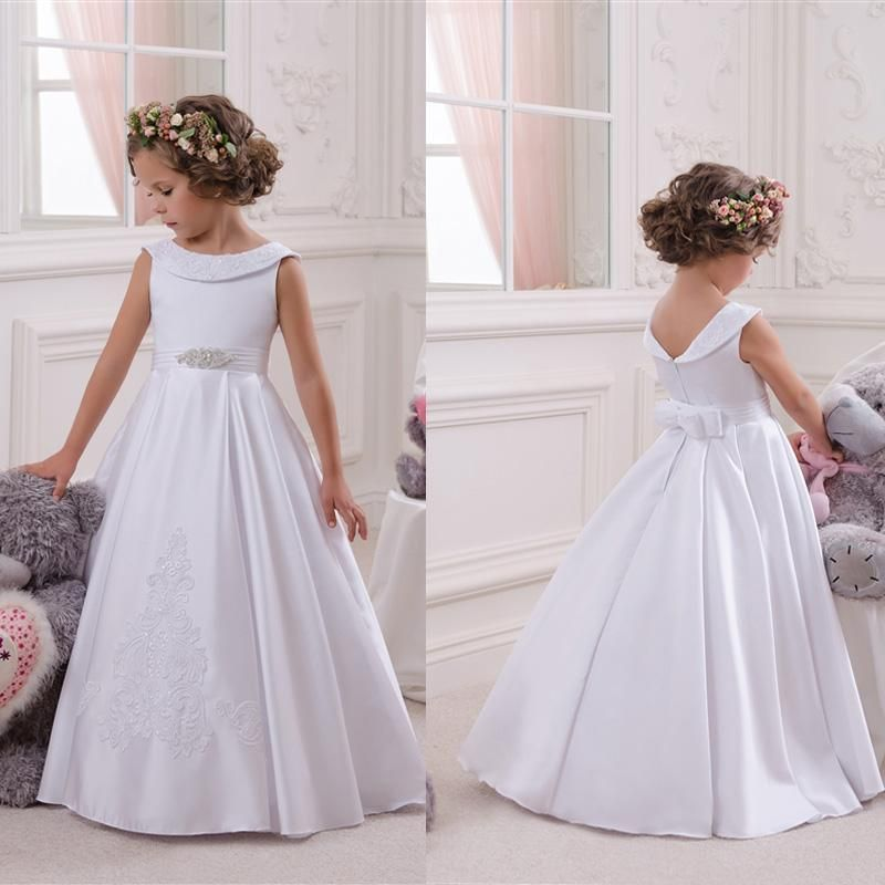 White Satin Lace First Communion Girls Dress Flower Wedding Easter Bridesmaid