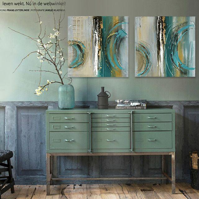 Moderne abstrakte malerei beliebte farben bemalt saphirblau grau - wohnzimmer bilder abstrakt