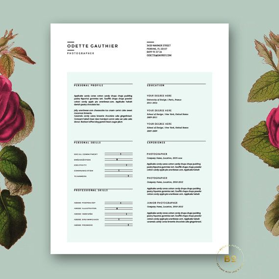 Minimalist Resume Template and free Cover Letter, 2 page Resume - 2 page resume