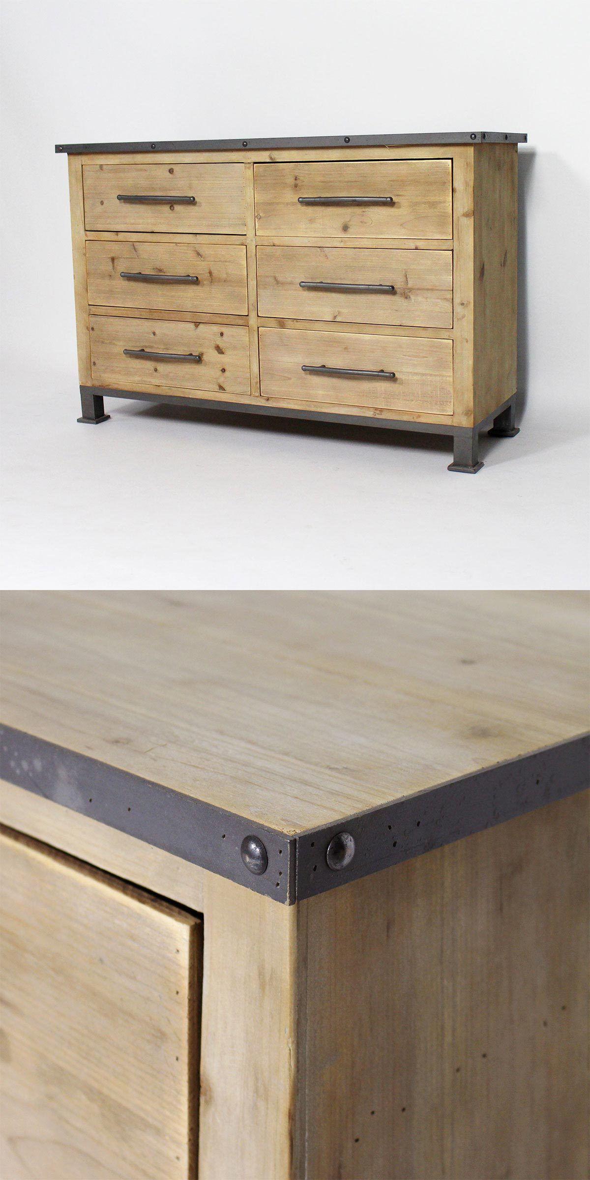 commode industrielle en bois et metal gris lignes epurees rivets apparents pour un