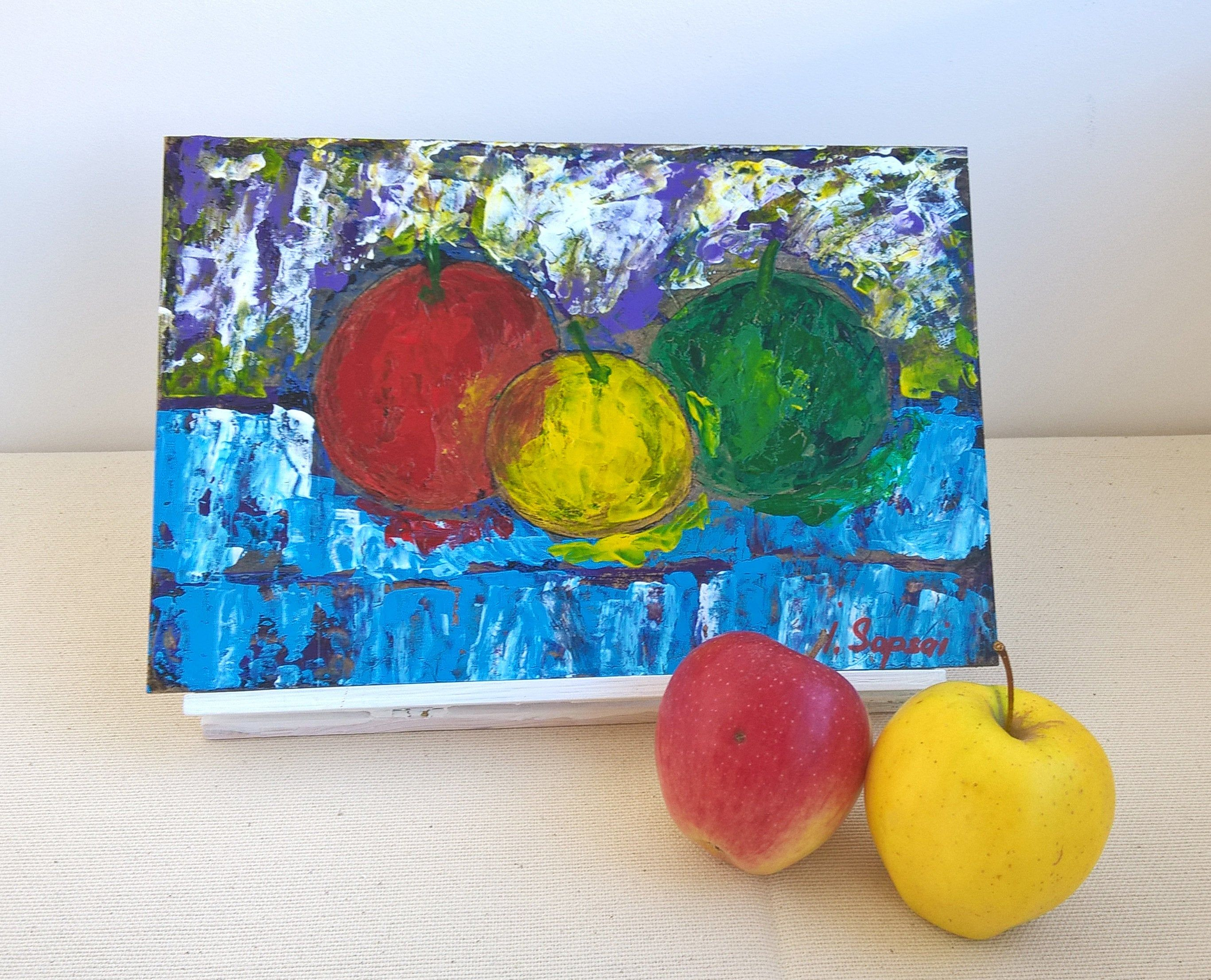 Apple Paintings Original Fruit Art Painting With Apples Still Etsy Apple Painting Abstract Flower Painting Painting