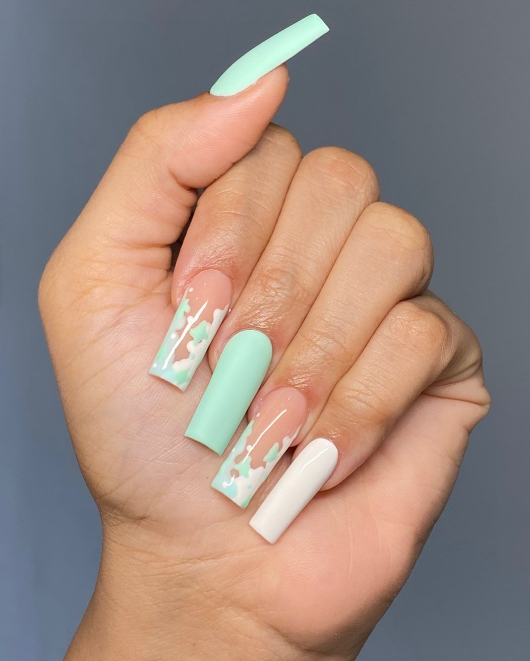 Jhohannails On Instagram Mint Cow Print Mint Green White Shopjhohannails Non Wipe Matte Top C In 2020 Pink Acrylic Nails Acrylic Nails Green Acrylic Nails
