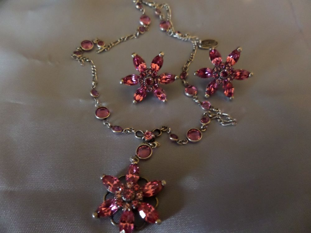 d285a0b92 Vintage KENNY MA of San Francisco Pink Crystal Flower Necklace & Earrings  #1301