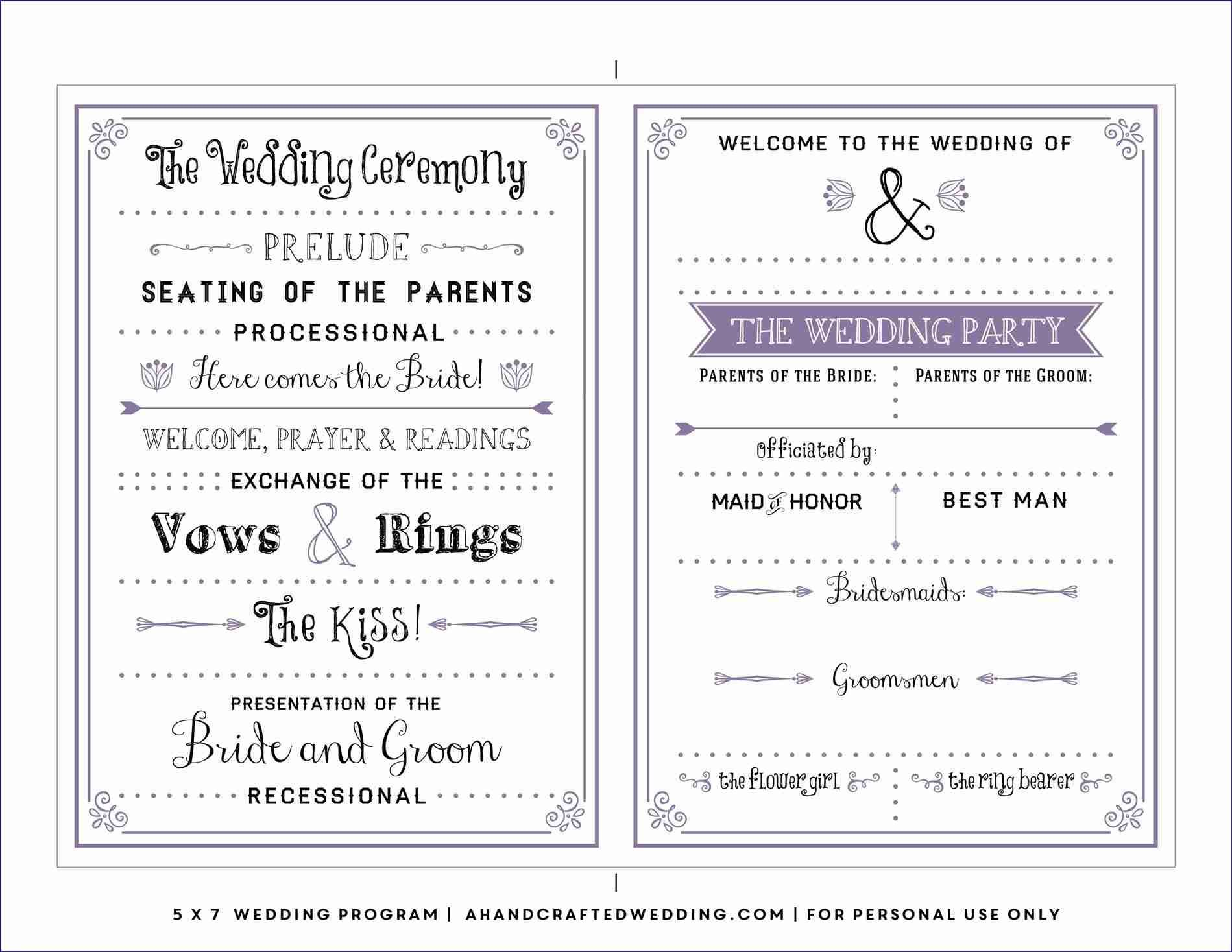free downloadable wedding program template that can be printed